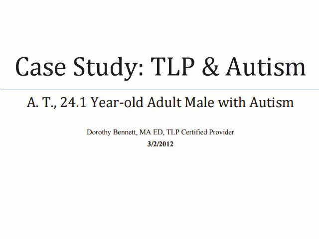 autism case study report Case study with a preverbal autistic boy case study the following is a report on three years of the eco program with a mother and a.